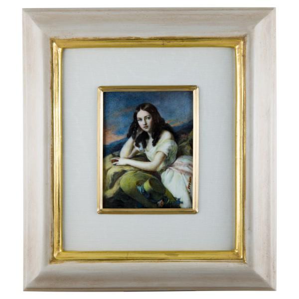 Miniatur-Rahmen mit Malerei Bildgröße 7x9cmauß.18x20cm