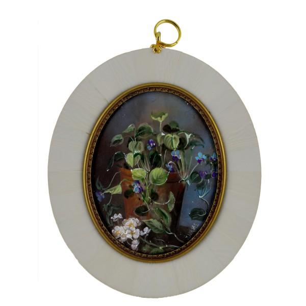 Miniatur-Rahmen mit Malerei Bildgröße 7x9 cm außen 10,5x12