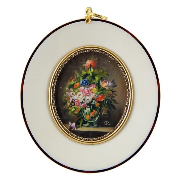Miniatur-Rahmen mit Malerei Bildgröße 5x6 cm Blumen in Vase