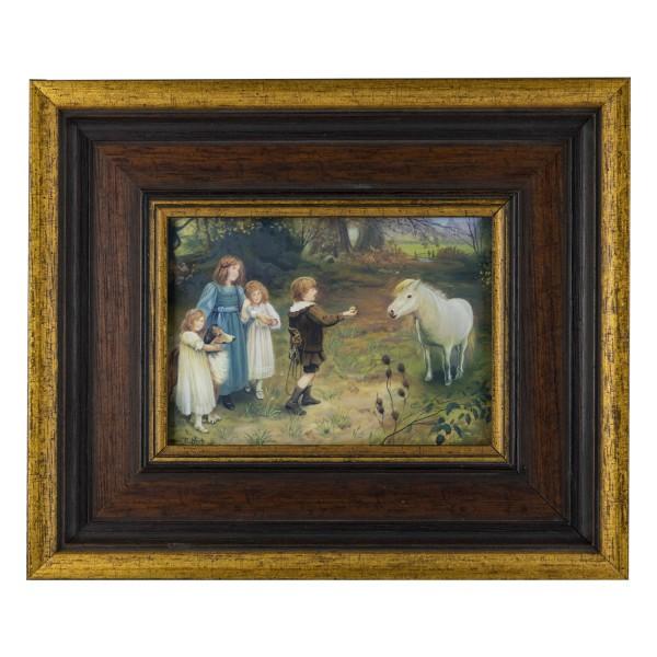 Miniatur-Rahmen mit Malerei Bildgröße 10x14 cm Außenmaß 20x24 cm