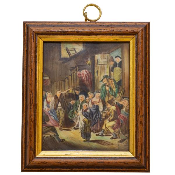 Miniatur-Rahmen mit Malerei Bildgröße 7x9 Dorfschänke