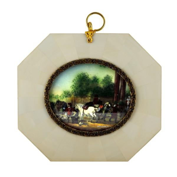 Miniatur-Rahmen mit Malerei Bildgröße 5x6cm auß 9x10