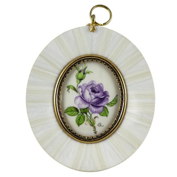 Miniatur-Rahmen mit Malerei Bildgröße 4x5 cm außen 8x9 cm alte purpur Rose