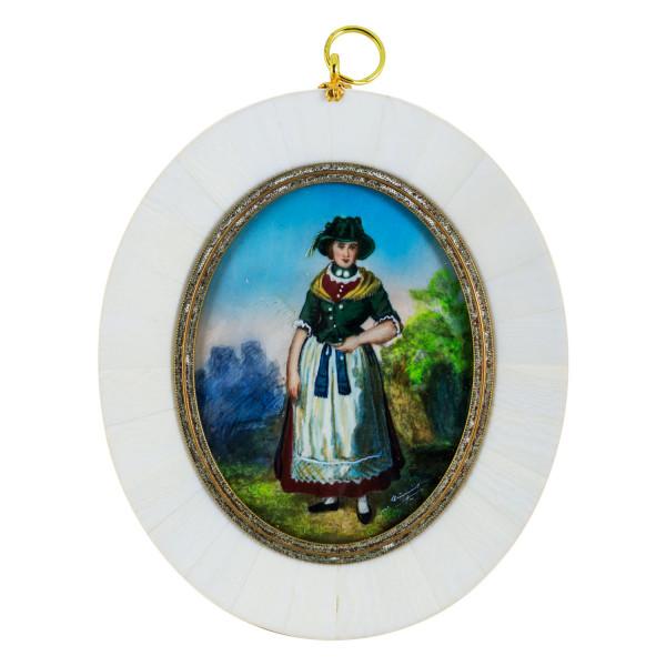 Miniatur-Rahmen mit Malerei Bildgröße 7x9 cm außen 10,5x12,5 cm