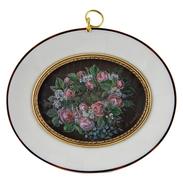 Miniatur-Rahmen mit Malerei Bildgröße 7x9 cm Rosenkranz