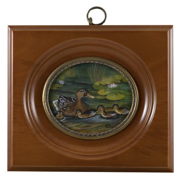 Miniatur-Rahmen mit Malerei Bildgröße 5x6 cm außen10x11cm Enten im Teich
