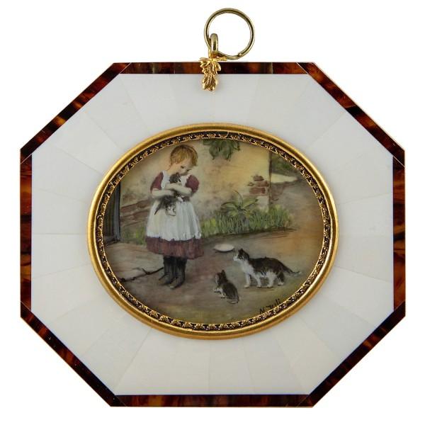 Miniatur-Rahmen mit Malerei Bildgröße 5x6 cm die Neuankömmlinge