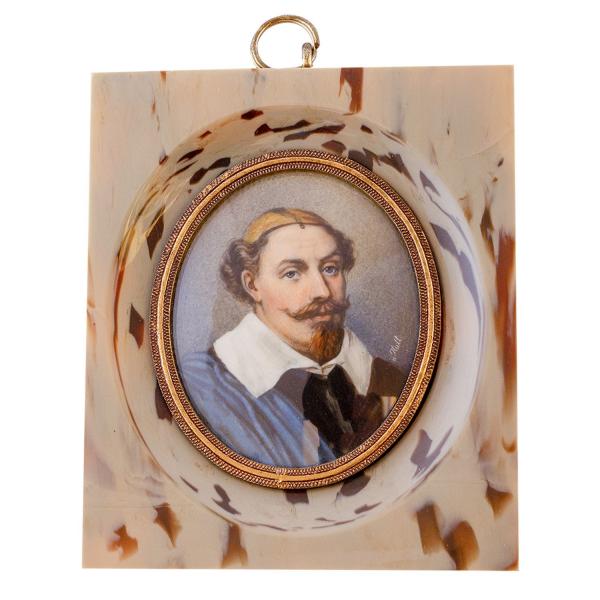 Miniatur-Rahmen mit Malerei Bildgröße 5x6 König Karl von Schwed.