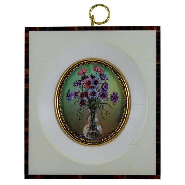 Miniatur-Rahmen mit Malerei Bildgröße 5x6 cm außen 10x12 cm
