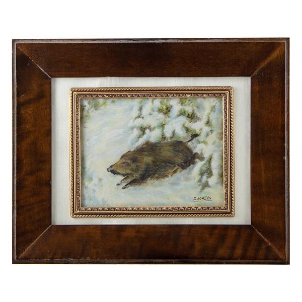 Miniatur-Rahmen mit Malerei Bildgröße 7x9 cm Wildschwein