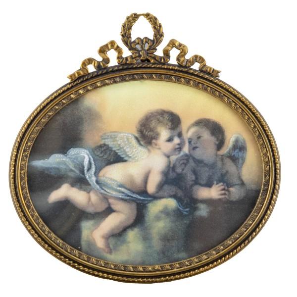 Miniatur-Rahmen mit Kunstdruck Bildgröße 7x9 cm Engel