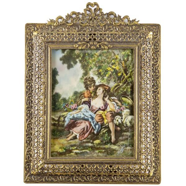 Miniatur-Rahmen mit Malerei Bildgröße 7x9cm außen 11x12 cm leicht beschädigt