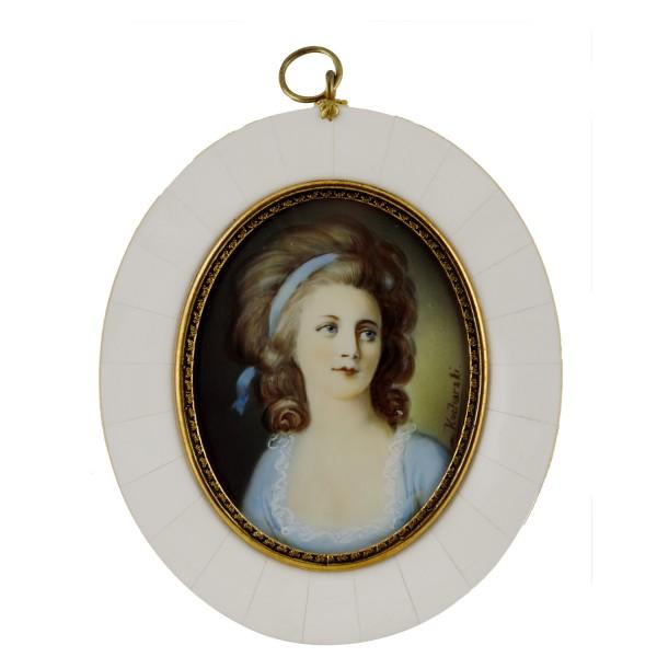 Miniatur-Rahmen mit Malerei Bildgröße 7x9 cm außen 10,5x13cm