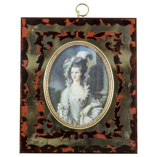 Miniatur-Rahmen mit Malerei Bildgröße 7x9 cm Außenmaß 14,5x12,5 cm Mrs. Graham