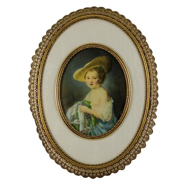Miniatur-Rahmen mit Malerei Bildgröße 7x9 cm außen 13x17 cm