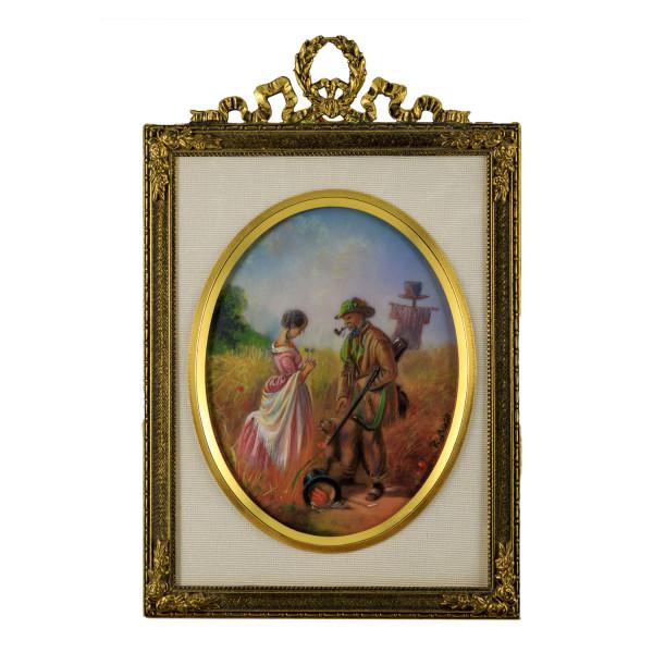 Miniatur-Rahmen mit Malerei Bildgröße 7x9 cm außen 10x14 cm