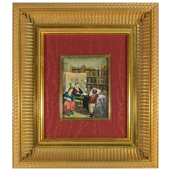Miniatur-Rahmen mit Malerei Bildgröße 10x14 cm außen 30x24 cm
