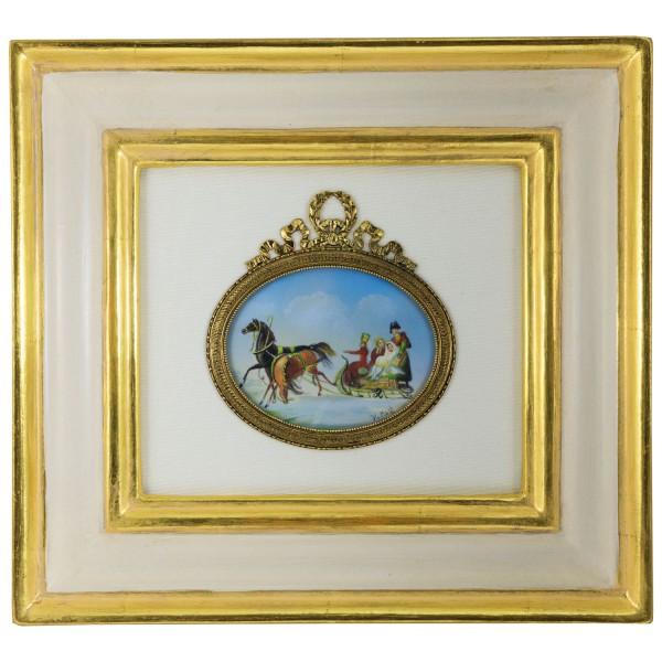 Miniatur-Rahmen mit Malerei Bildgröße 7x9 cm außen 29x27 cm