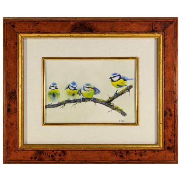 Miniatur-Rahmen mit Malerei Bildgröße 10x14 cm außen 26x22 cm