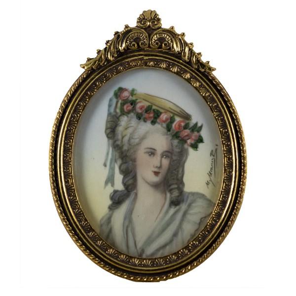 Miniatur-Rahmen mit Malerei Bildgröße 4x5 cm Princesse de Lamballe