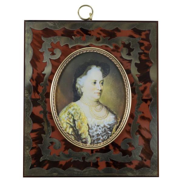 Miniatur-Rahmen mit Malerei Bildgröße 7x9 cm Außenmaß 14,5x12,5 cm Kaiserin Maria Theresia von Öste