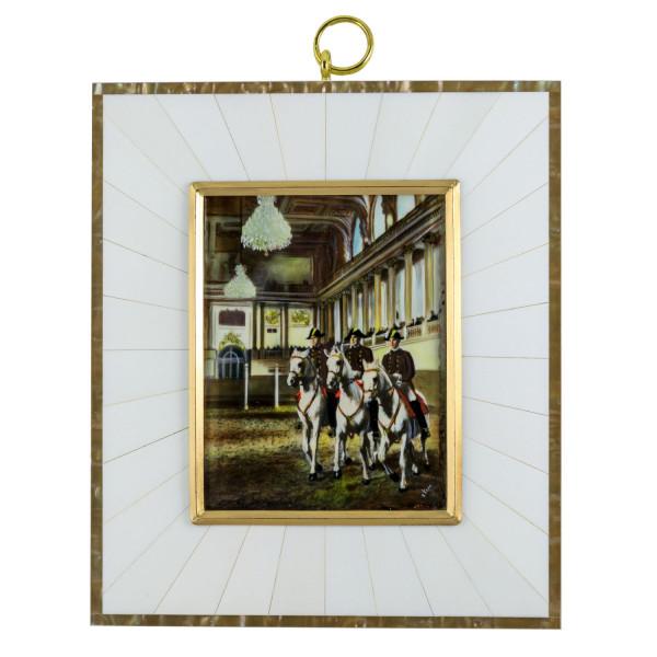 Miniatur-Rahmen mit Malerei Bildgröße 7x9 cm außen 12,5x14,5 cm