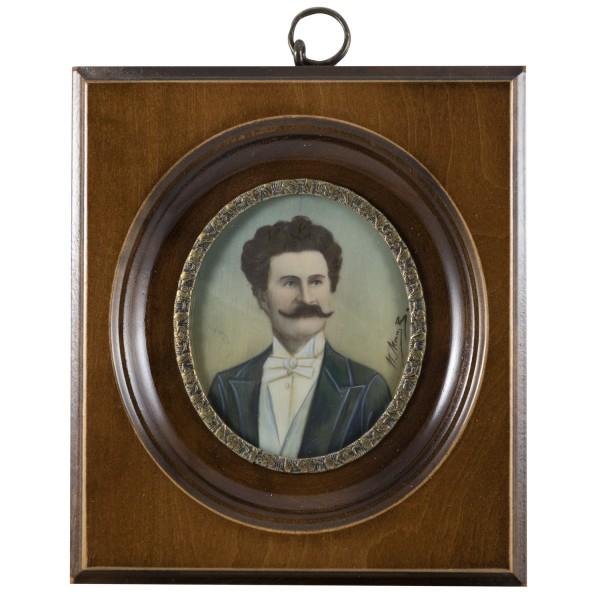 Miniatur-Rahmen mit Malerei Bildgröße 5x6 cm außen10x11cm