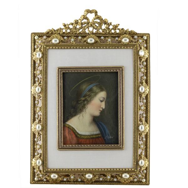Miniatur-Rahmen mit Malerei Bildgröße 7x9 cm Außenmaß 13,5x20cm Hlg. Catharina