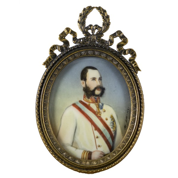 Miniatur-Rahmen mit Malerei Bildgröße 4x5 cm Kaiser Franz Josef von Österreich