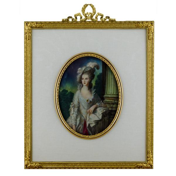 Miniatur-Rahmen mit Malerei Bildgröße 7x9cm auß.13x15