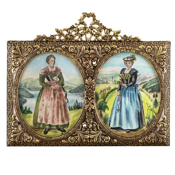 Miniatur-Rahmen mit Aquarellmalerei Bildgröße 7x9 cm