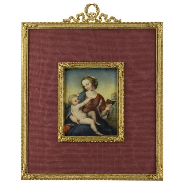 Miniatur-Rahmen mit Malerei Bildgröße 7x9 cm Außenmaß 17x22cm Madonna n. Raffael