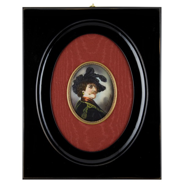 Miniatur-Rahmen mit Malerei Bildgröße 7-9 cm Außenmaß 25x20 cm