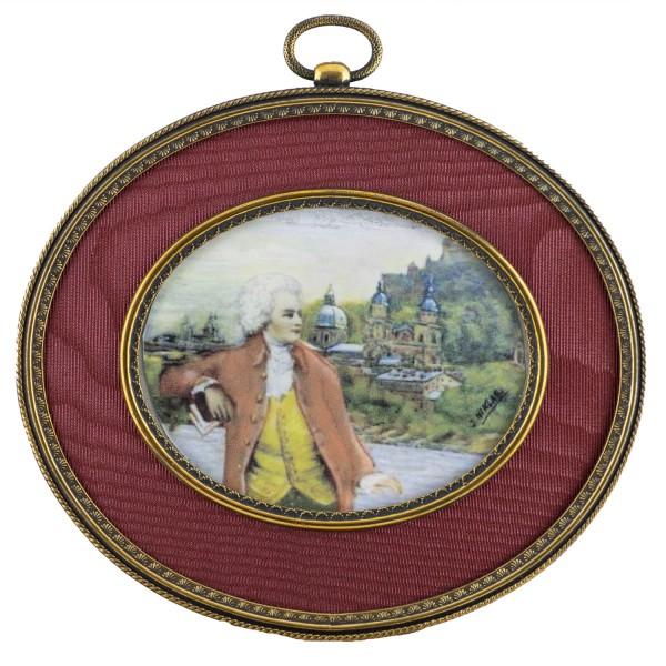 Miniatur-Rahmen mit Kunstdruck Bildgröße 7x9 cm Mozart in Salzburg