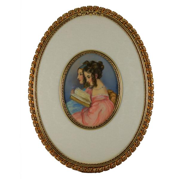 Miniatur-Rahmen mit Malerei Bildgröße 7x9 cm außen 15x19 cm