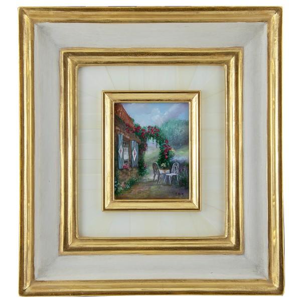 Miniatur-Rahmen mit Malerei Bildgröße 7x9 cm Am Rosenbogen