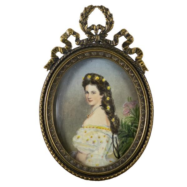 Miniatur-Rahmen mit Malerei Bildgröße 4x5 cm Kaiserin Elisabeth von Österreich