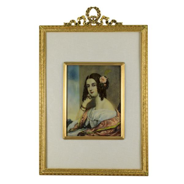 Miniatur-Rahmen mit Malerei Bildgröße 7x9 cm außen 13x20 cm