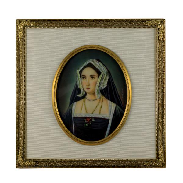 Miniatur-Rahmen mit Malerei Bildgröße 7x9 cm außen 13x13 cm