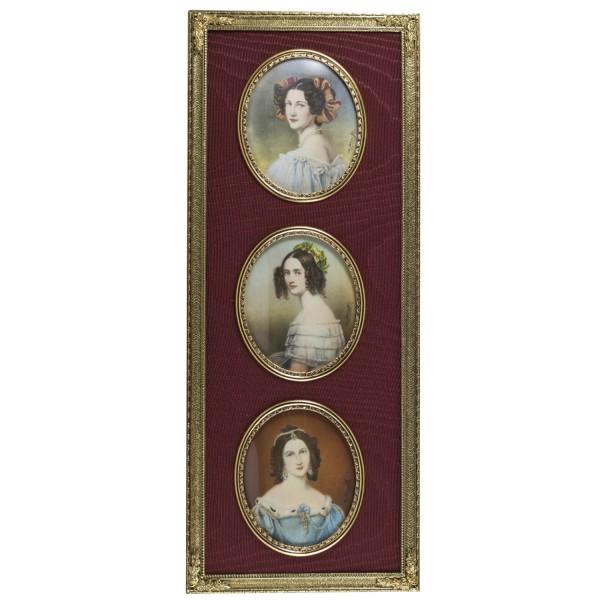 Miniatur-Rahmen mit Malerei Bildgröße 5x6 Drei Miniaturen aus der Münchner Schönheiten Galerie