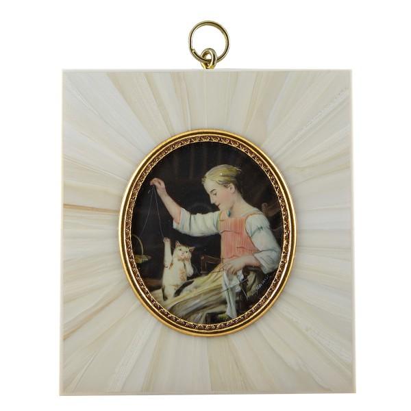 Miniatur-Rahmen mit Malerei Bildgröße 5x6 cm Mädchen mit Katze