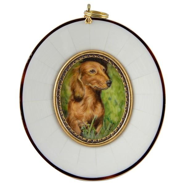 Miniatur-Rahmen mit Malerei Bildgröße 4x5 cm Dackel