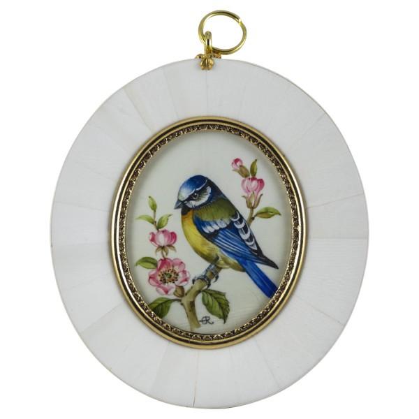 Miniatur-Rahmen mit Malerei Bildgröße 5x6 cm Blaumeise