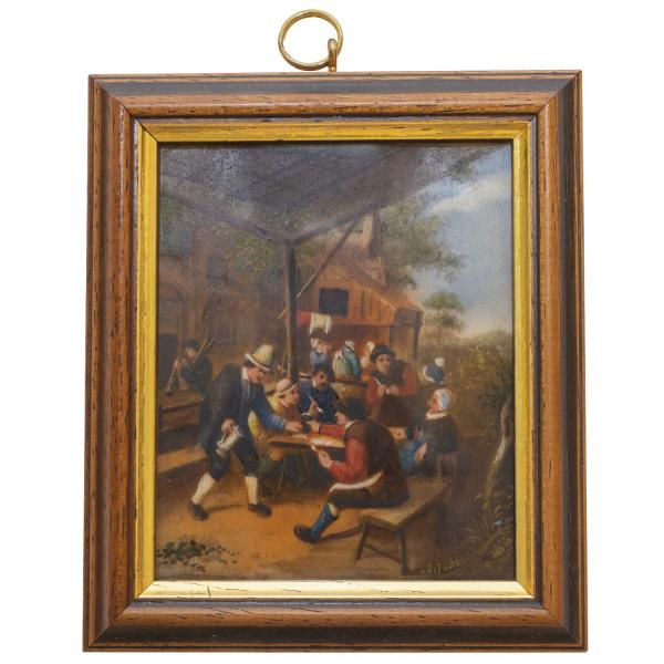 Miniatur-Rahmen mit Malerei Bildgröße 7x9 Im Wirtshausgarten